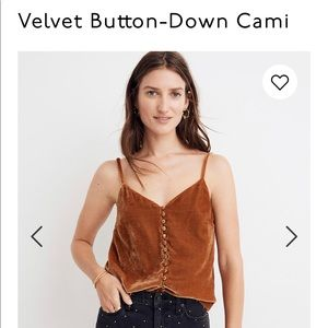 NWT Madewell velvet button-down Cami-Size 12